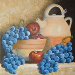 Wein und Äpfel 50x50 cm