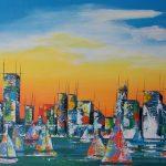 Abstrakte Stadtansicht mit Segelbooten