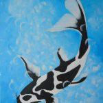 Koi schwarz 70x50 cm