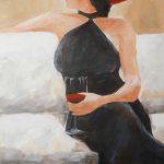 Frau mit Weinglas 70x50 c