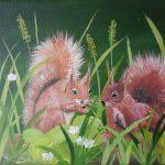 Zwei Eichhörnchen 18x24 cm